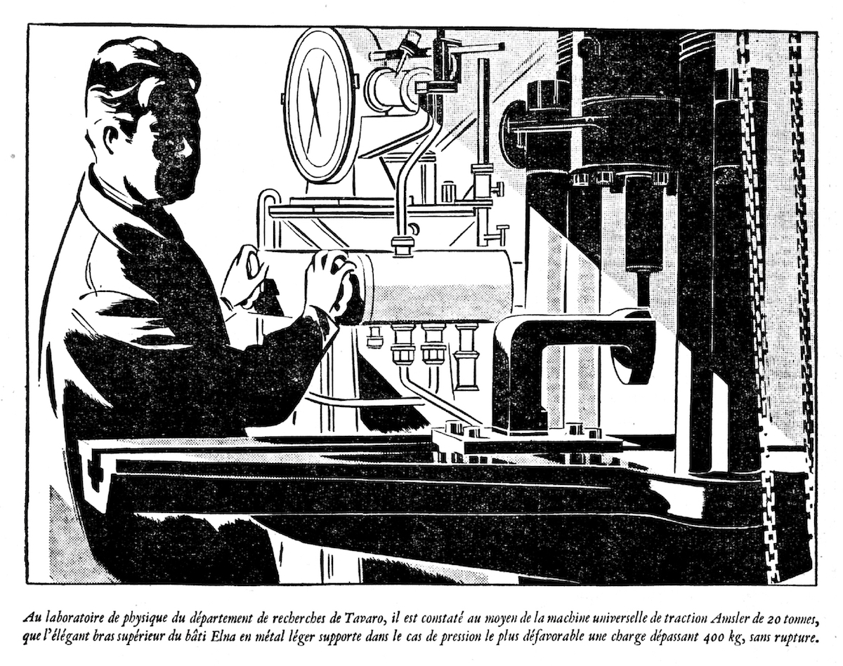 Artist's depiction of a strength testing machine at avaro's research division, Journal de Genève, 1944